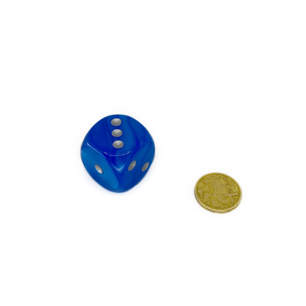 Single D6 30mm w/pips Velvet Bright Blue/silver (out of print)