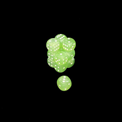 Chessex 16mm Off Colour Translucent Mint Lustrous D6 Set with Pips