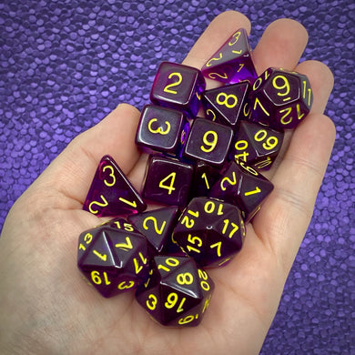 Translucent Dark Purple w/Gold (15 Dice Set)