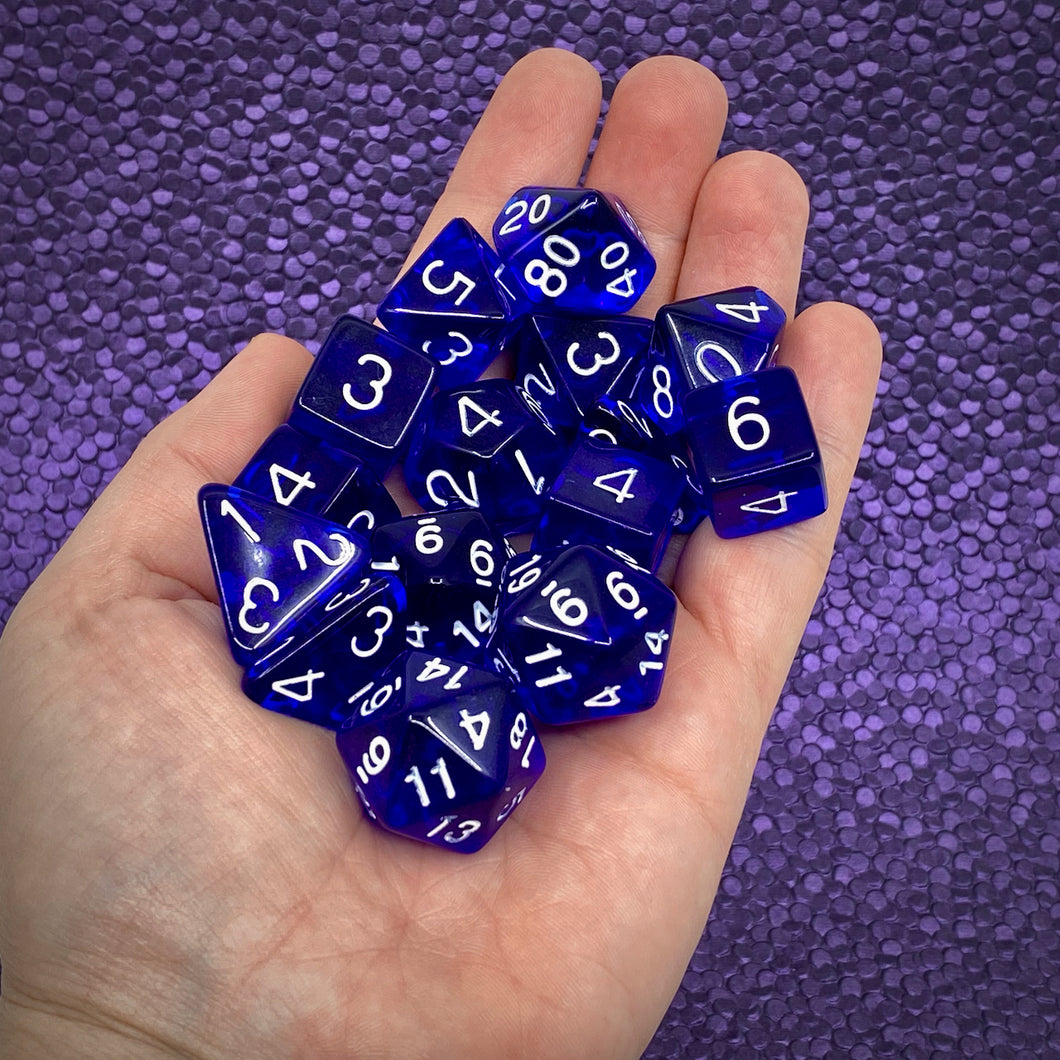Translucent Dark Blue w/White (15 Dice Set)