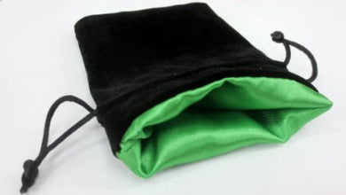 Black Velvet Bag: Green Satin Lining (3 3/4