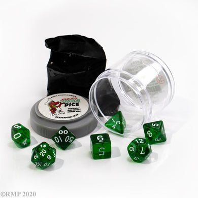 Reaper: Lucky Dice - Clear Green (Pizza Dungeon Dice)
