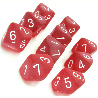 CHXLT427: Red/White Frosted Set of Ten d10's