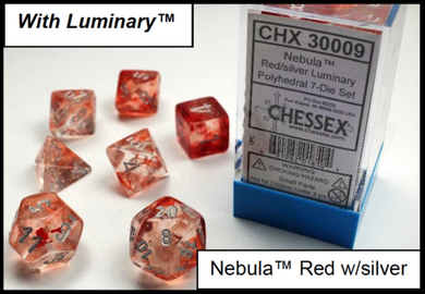 CHX30009: Nebula Red/silver Polyhedral 7-Die Set