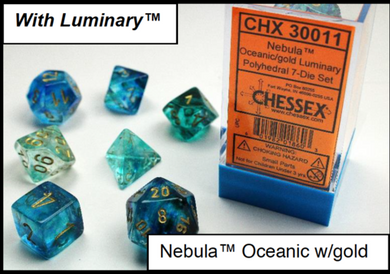 CHX30011: Nebula Oceanic/gold Polyhedral 7-Die Set