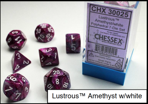 CHX30025: Lustrous Amethyst/white Polyhedral 7-Die Set