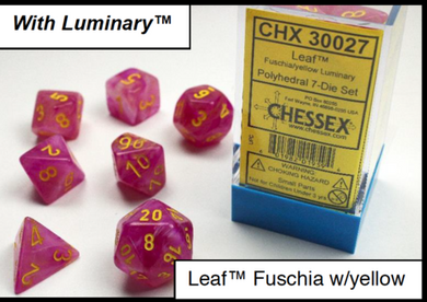 CHX30027: Leaf Fuschia/yellow Polyhedral 7-Die Set