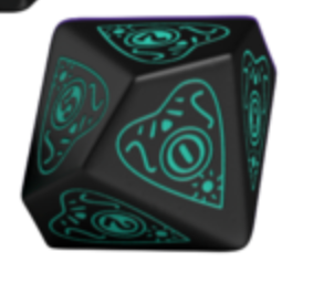 Divination Dice: Black with Teal Single D10