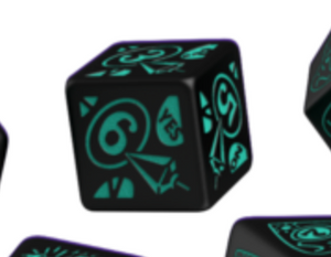 Divination Dice: Black with Teal Single D6