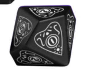 Divination Dice: Black with White Single D10