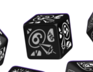Divination Dice: Black with White Single D6