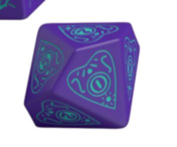 Divination Dice: Purple with Teal Single D10