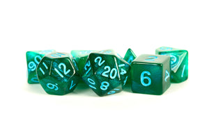 MDG Polyhedral Acrylic Dice Set 16mm - Stardust Green with Blue Numbers