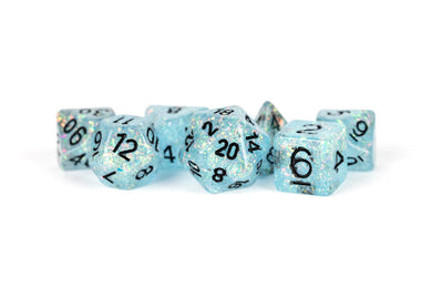 MDG Resin Flash Dice Set 16mm Polyhedral - Blue