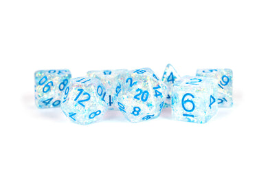 MDG Resin Flash Dice Set 16mm Polyhedral - Clear with Light Blue Numbers