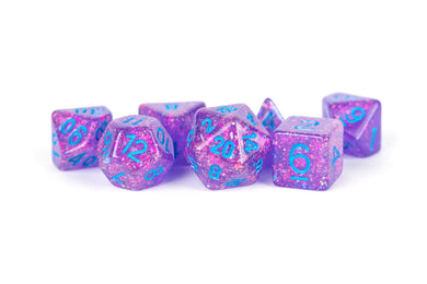 MDG Resin Flash Dice Set 16mm Polyhedral - Purple