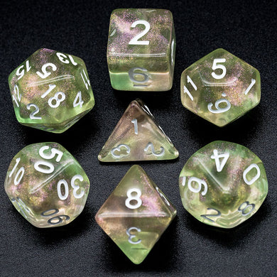 Udixi: Pink & Green Glitter Dice (White Numbers)