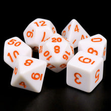 Load image into Gallery viewer, White Opaque dice (Orange font)