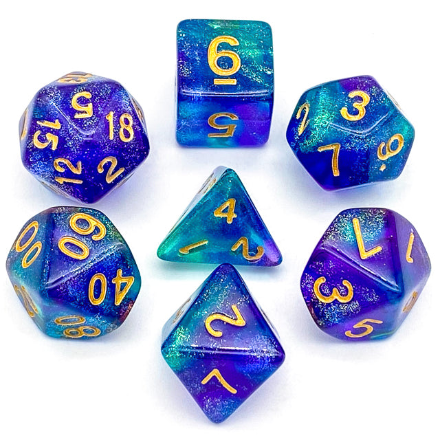 Udixi: Purple & Green Glitter Dice (Gold font)
