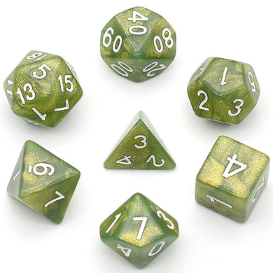 Udixi: Glitter Green Marble Dice