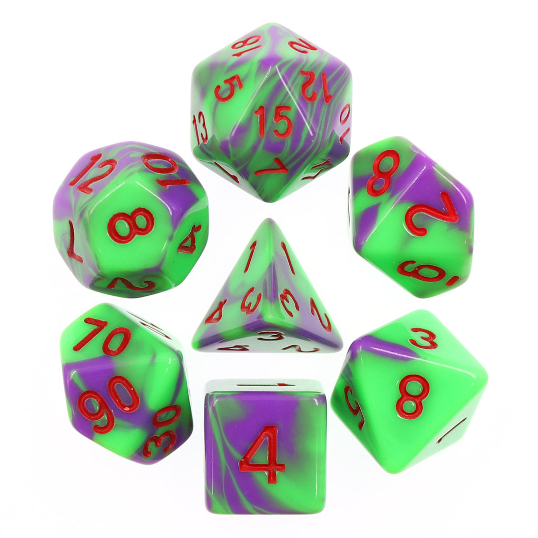 HD Dice: Purple+Green with Red Blend Dice