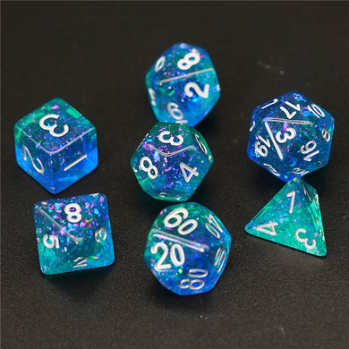Udixi: Blue & Green Glitter Dice with Flash