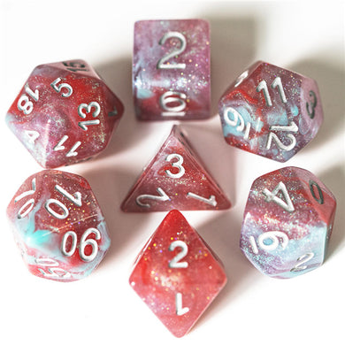 Udixi: Blue & Red & Purple & White Galaxy Dice (Silver Numbers)