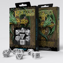 Load image into Gallery viewer, Celtic 3D Revised White & Black Dice Set