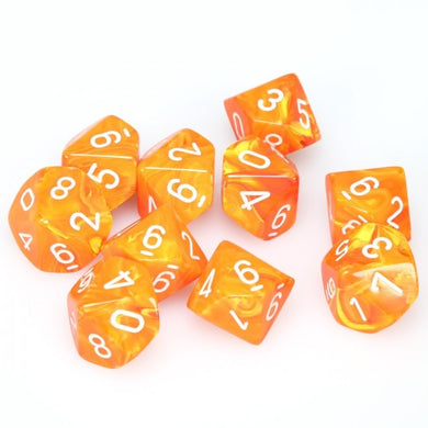 CHX27223: Menagerie Solar/White Vortex Set of Ten d10's
