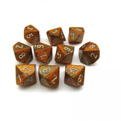 CHX27303: Glitter Gold/Silver Set of Ten d10's