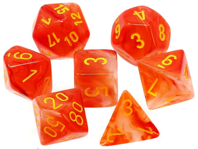 CHX27523: Ghostly Glow Orange/Yellow Polyhedral 7-Die Set