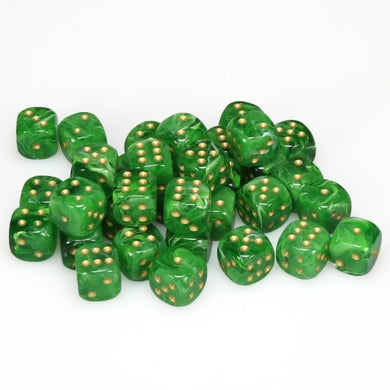 CHX27835: Green/Gold Vortex 12mm d6 (36 block) Dice Set