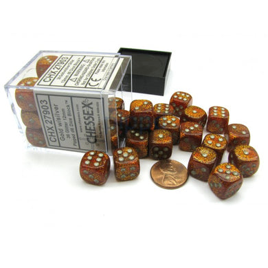 CHX27903: Glitter Gold/silver 12mm D6 (36 block) Dice Set