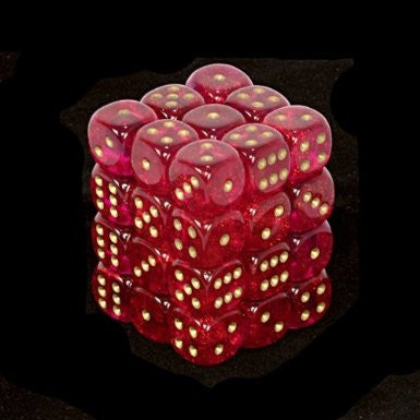 CHX27824: Borealis 12mm d6 Magenta/gold Dice Block (36)