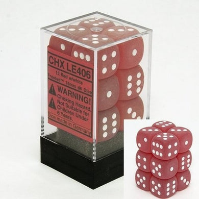 CHXLE406: Frosted Red/White 16mm d6 (12) dice set