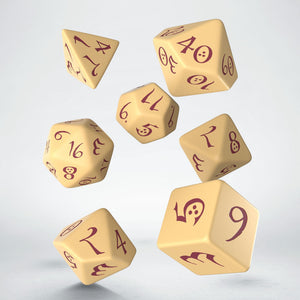 Q Workshop Classic RPG Dice Set Beige & Burgundy