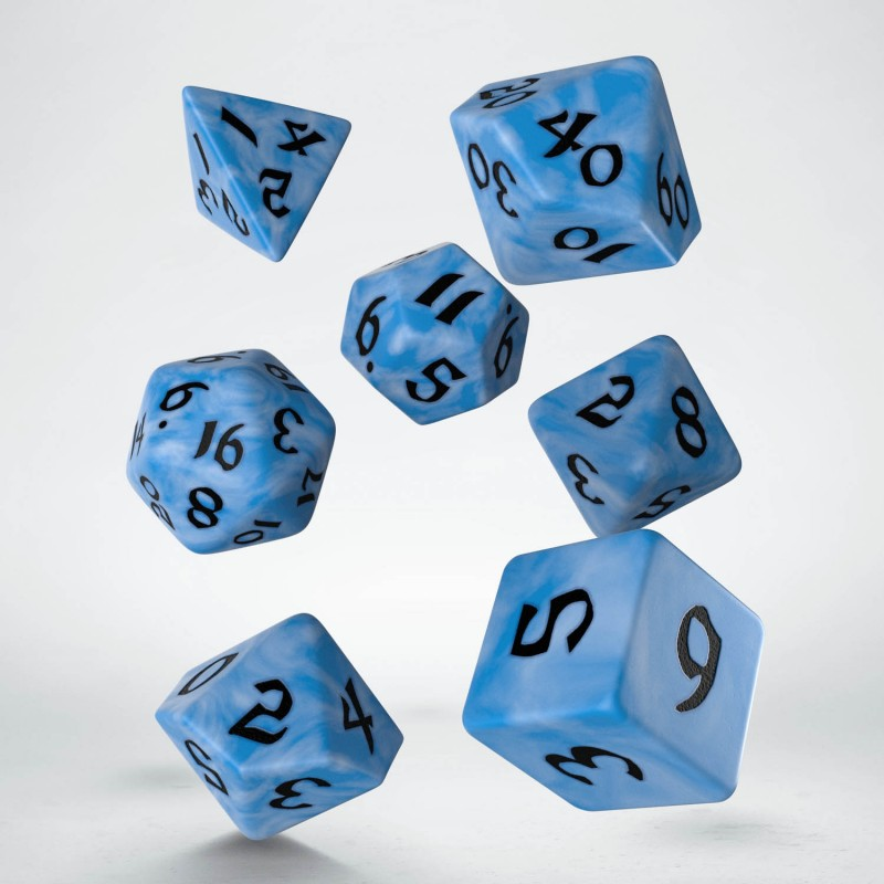 Classic Runic Dice Set - Glacier and Black (set of 7)