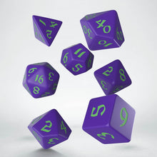 Load image into Gallery viewer, Q Workshop Classic Runic Dice Set - Purple and Green (set of 7)