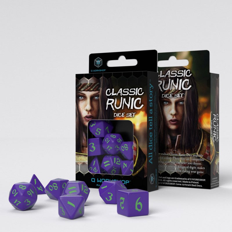 Q Workshop Classic Runic Dice Set - Purple and Green (set of 7)