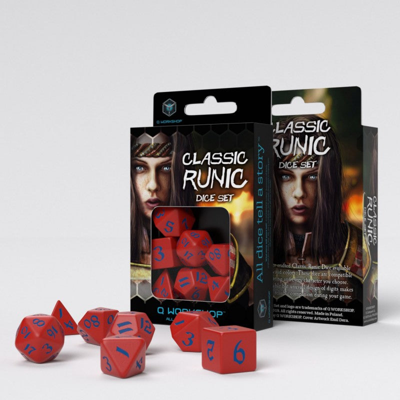 Classic Runic Dice Set - Red and Blue (Set of 7)