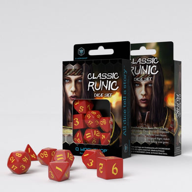 Q Workshop Classic Ruinc Dice Set - Red and Yellow (Set of 7)