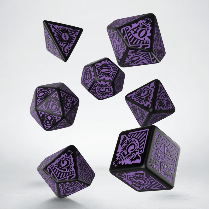 Q Workshop Call of Cthulhu Horror on the Orient Express Black & Purple Dice Set