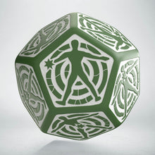 Load image into Gallery viewer, D12 Hit Location Green & white die