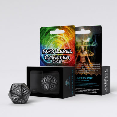 D20 Level Counter Black & white Die