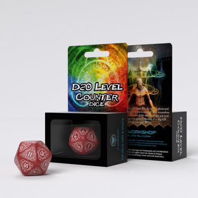 D20 Level Counter Red & white Die