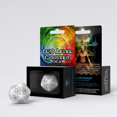 D20 Level Counter White & black Die