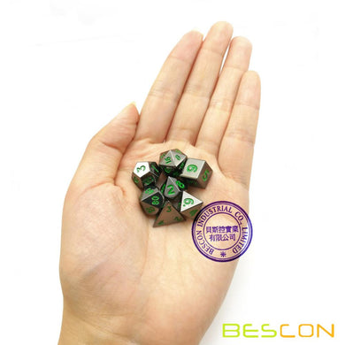 Bescon Dice: Mini Metal Glossy Black w/Green Polyhedral Set