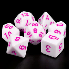 Load image into Gallery viewer, White Opaque dice (Pink font)