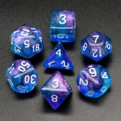 Udixi: Purple & Blue Glitter Dice (White font)