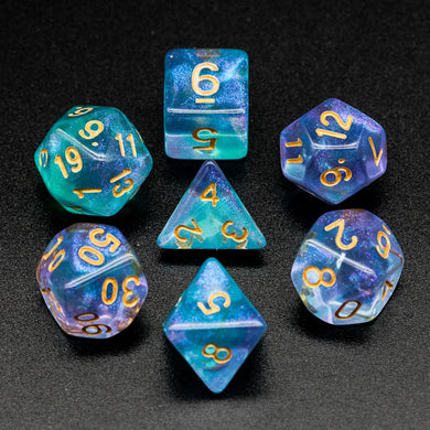 Udixi: Purple & Cyan Glitter Dice (Gold font)